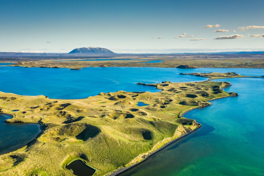 Myvatn Lake landscape at North Iceland. Wiew from above