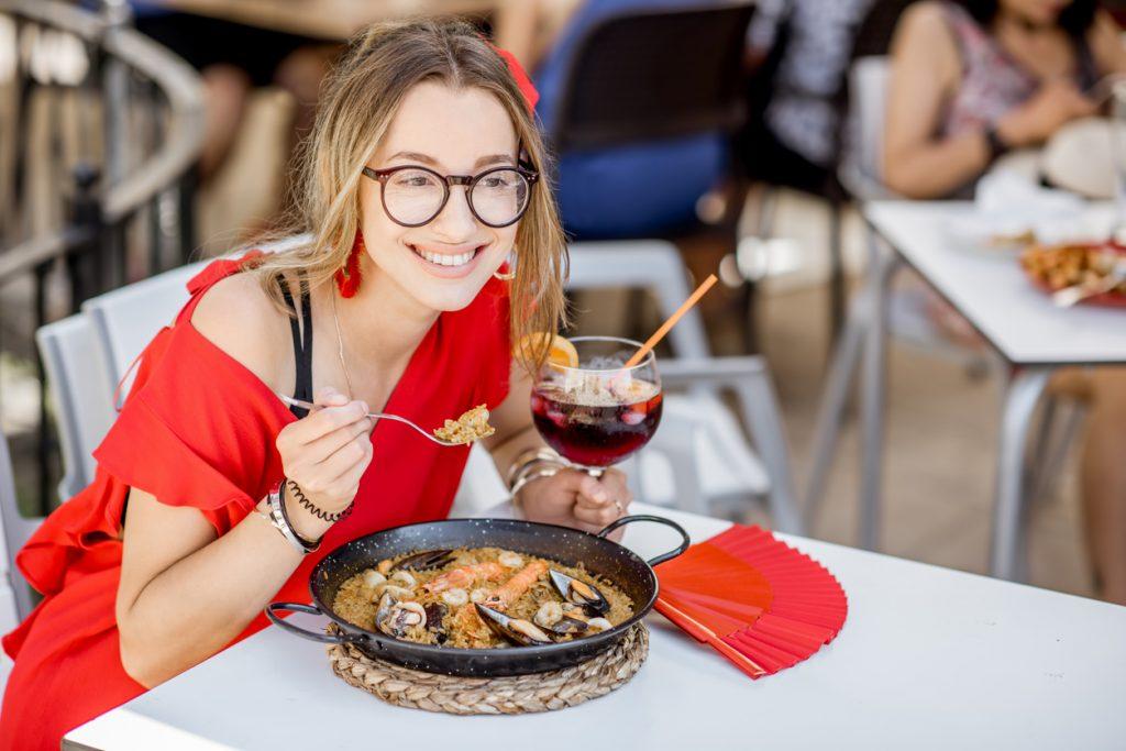 Paella Dish with Sangria