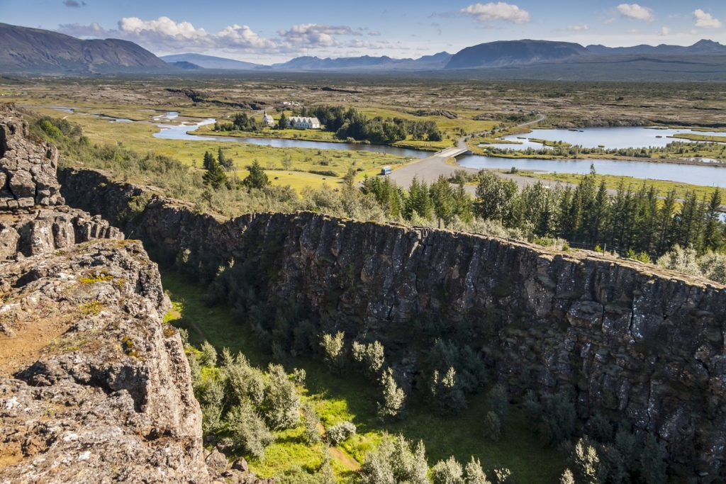 Thingvellir valley - Iceland. The seam between the Eurasian and North American tectonic plates.