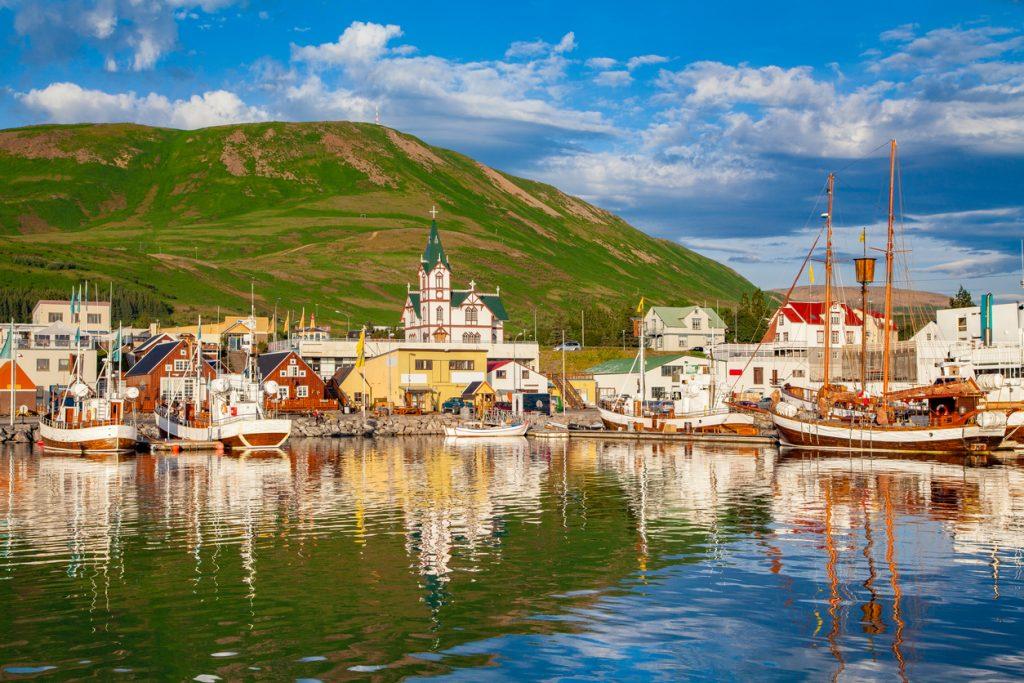 Town of Husavik at sunset, north coast of Iceland