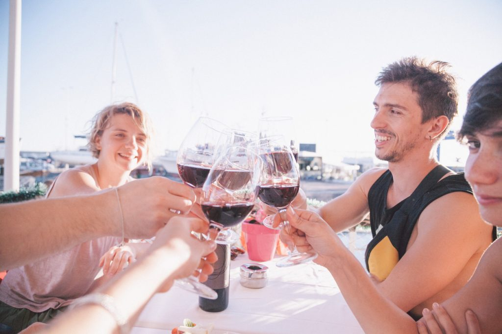 Wine with friends on holiday