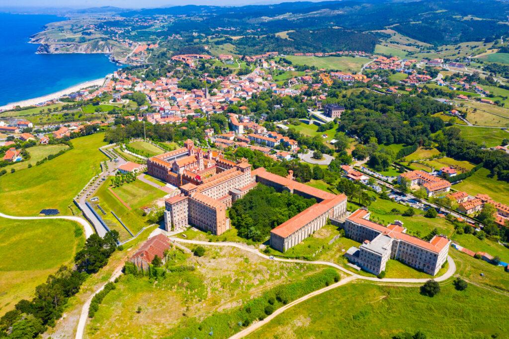 Aerial view of Comillas village, Spain