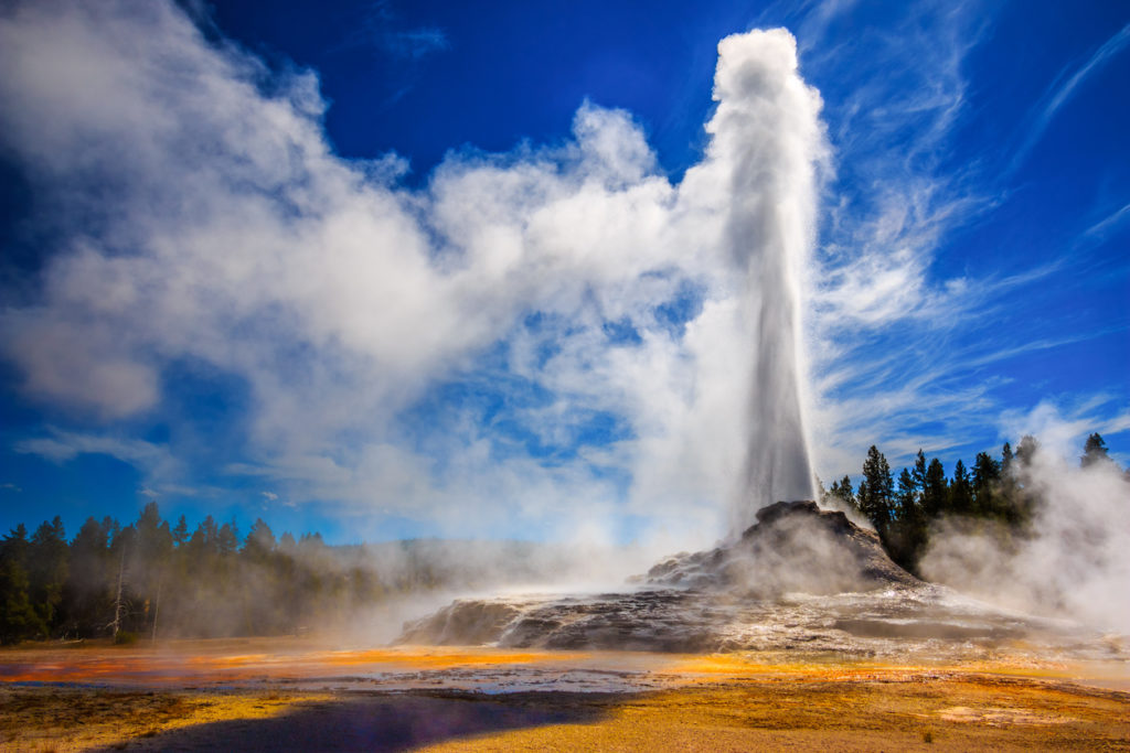 Castle Geyser erupting in Yellowstone