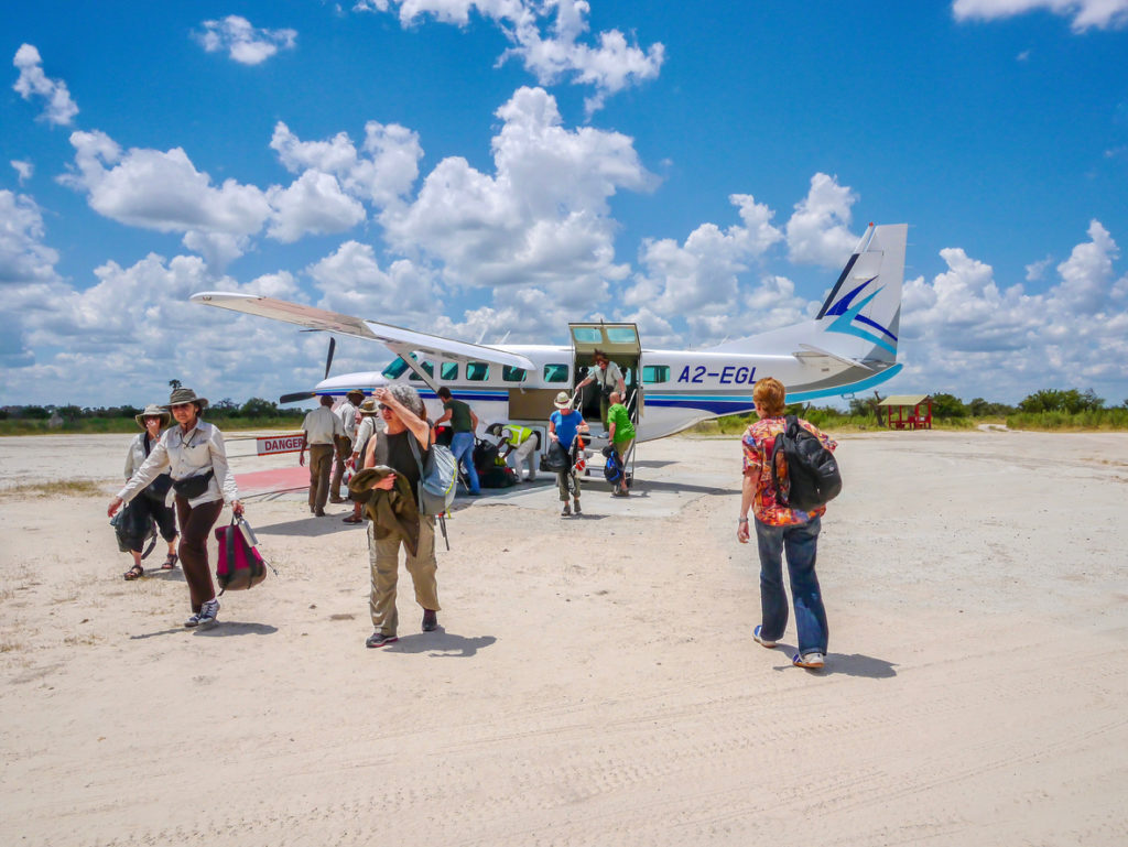 Charter plane after landing in northern Botswana