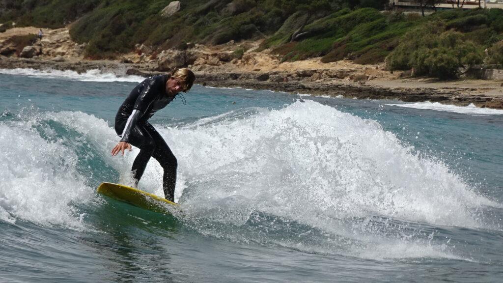 Enjoying Surfing in Canyamel Majorca