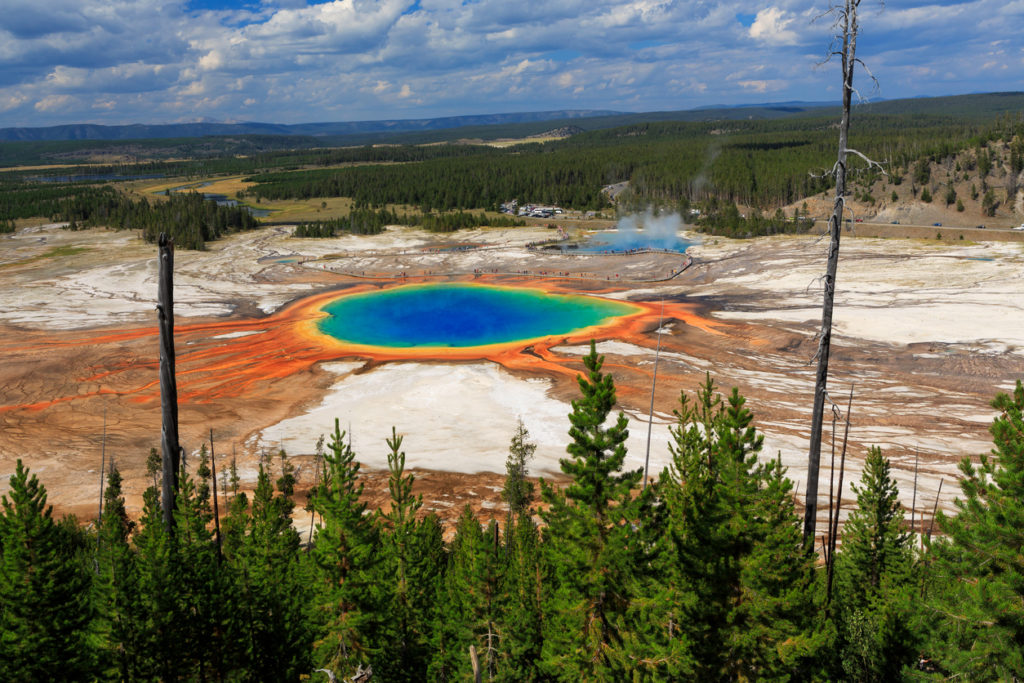 Famous trail of Grand Prismatic Springs in Yellowstone National Park