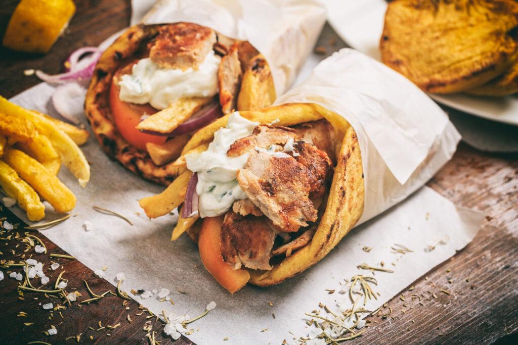 Greek gyros wrapped in a pita bread