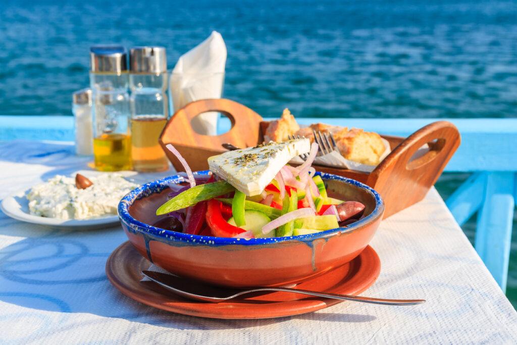 Greek salad on table in Greek tavern