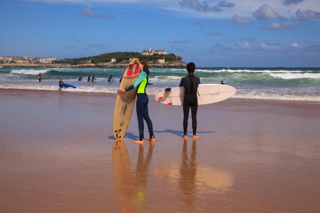 Surfers at Santander