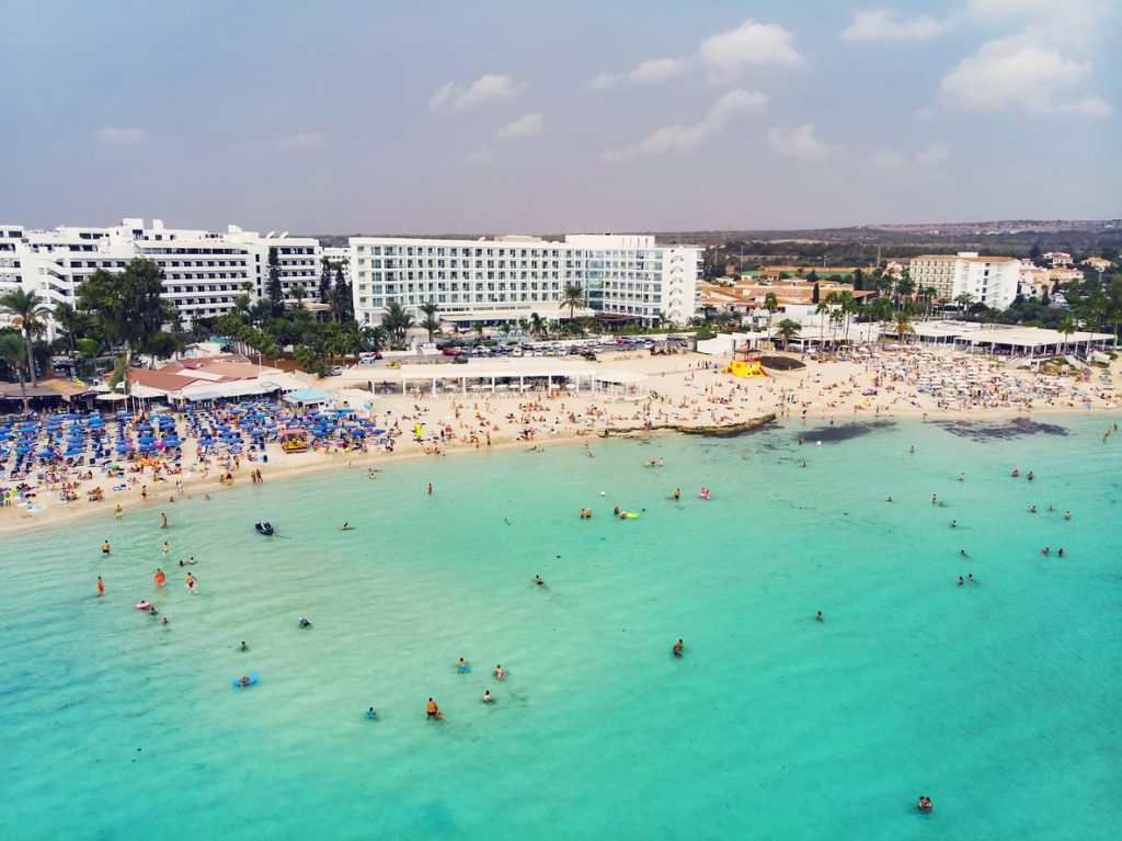 Beach of Ayia Napa with some of the resorts