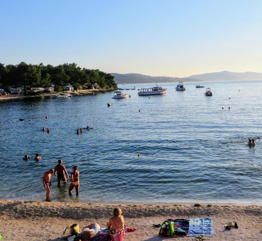 A beautiful amazing view of Okrug Gornji beach on Otok Ciovo or Ciovo island beside Trogir