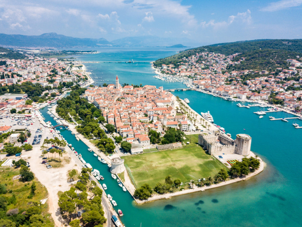 Aerial view of touristic old Trogir