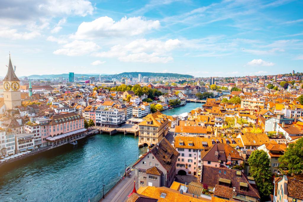 Aerial view on Zurich city in Switzerland