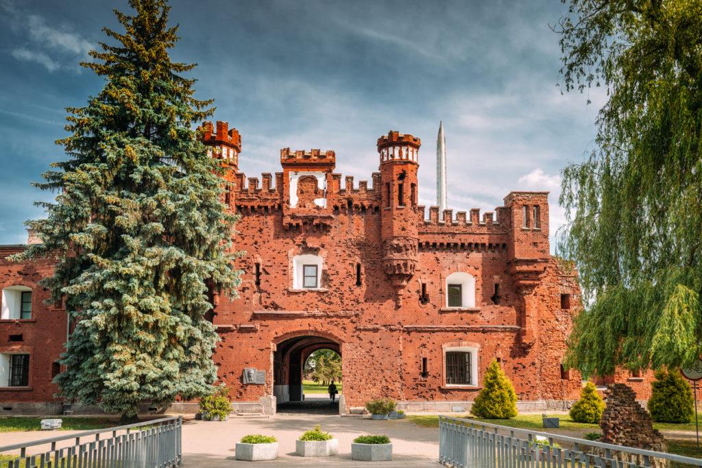 Brest, Belarus. Outside Outdoor Facade Of The Kholm Gate Gates Of The Brest Fortress