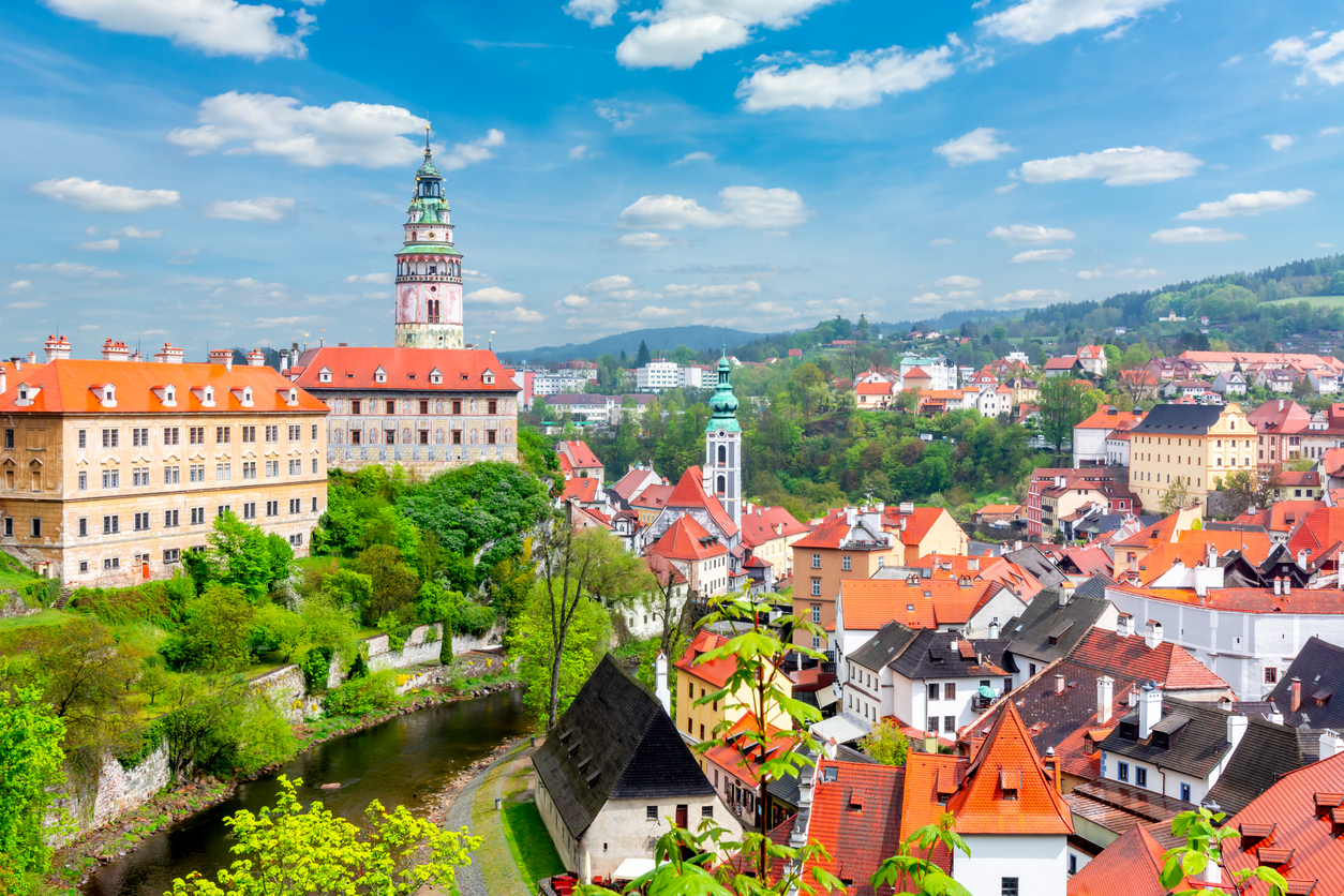 Cesky Krumlov cityscape with castle and old town, Czech Republic