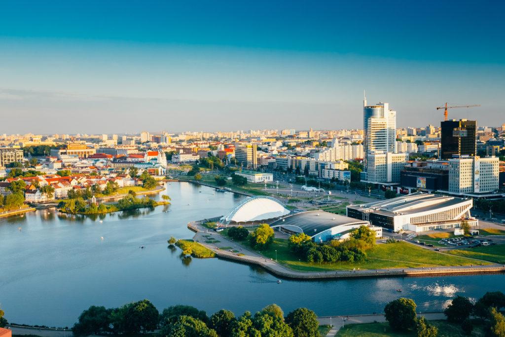 Cityscape of Minsk, Belarus.