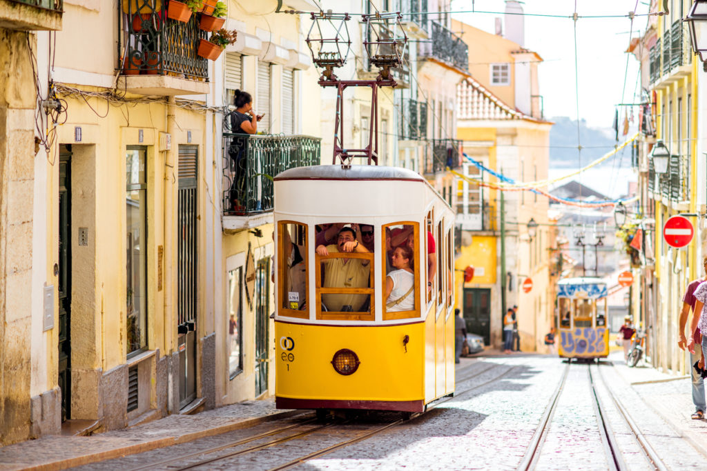 Famous yellow funicular on the Bica street in Lisbon