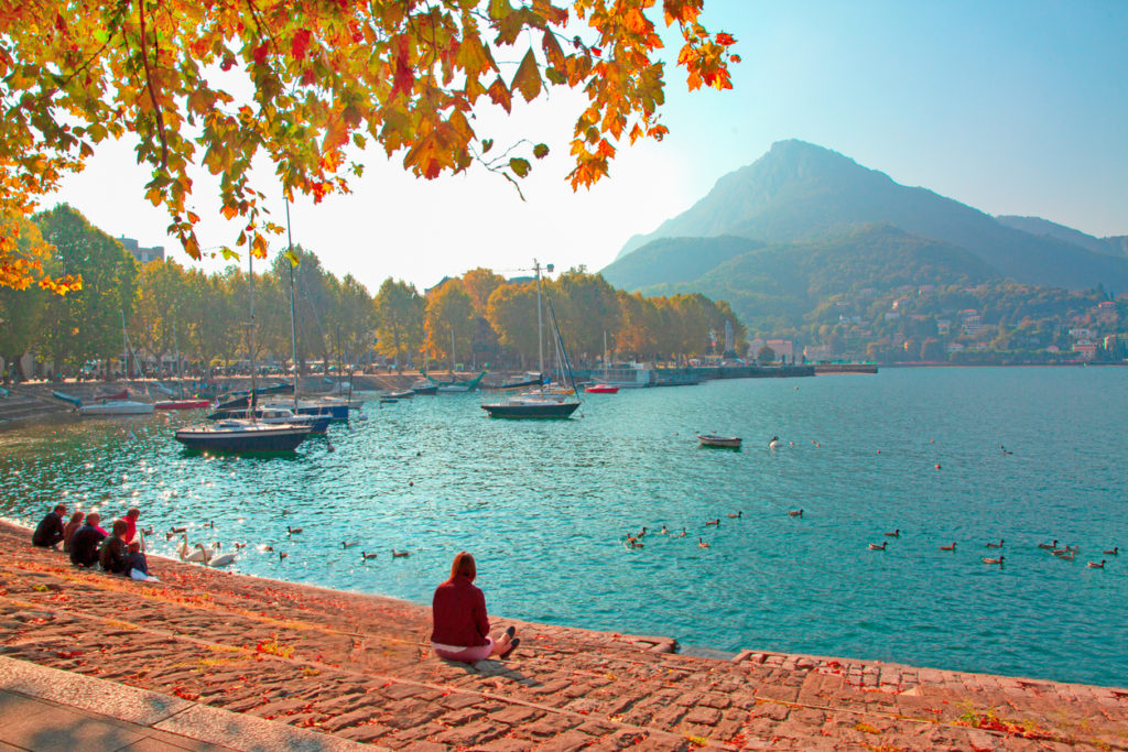 Lake Como and Alps mountains in autumn