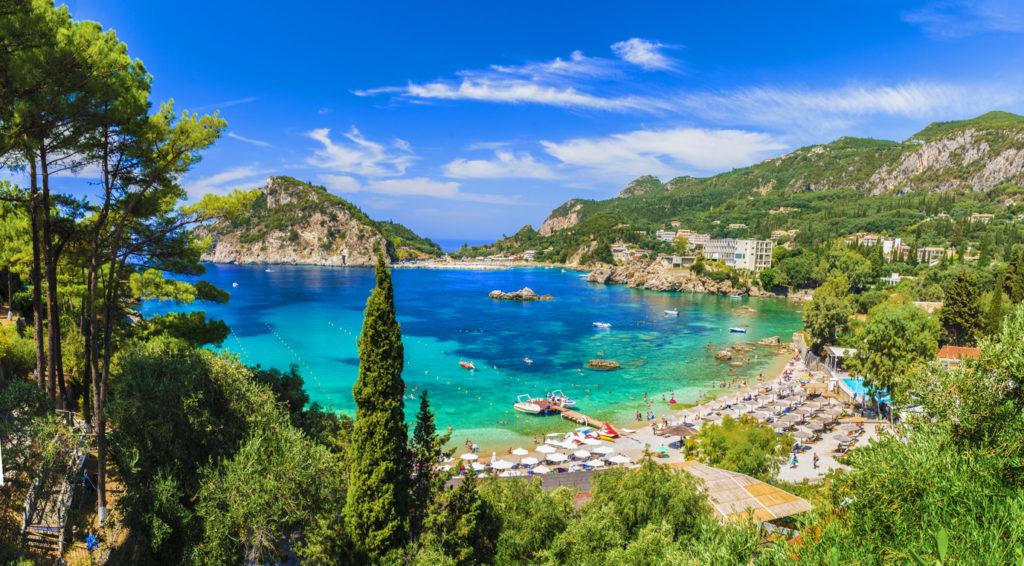 Landscape with Palaiokastritsa beach on Corfu