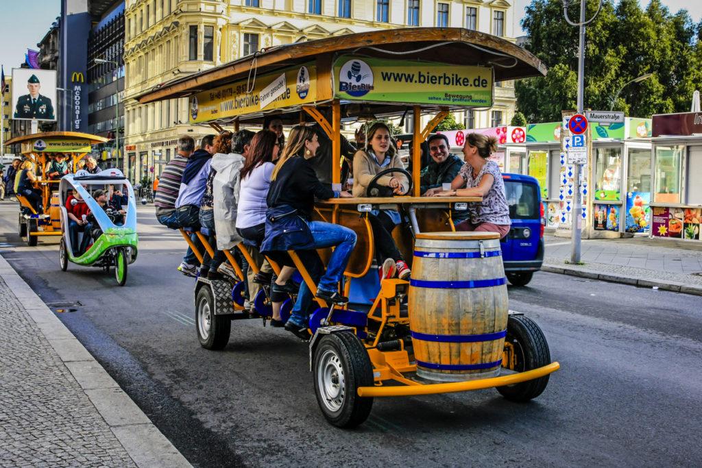 Multi-passenger human powered party bike in Berlin