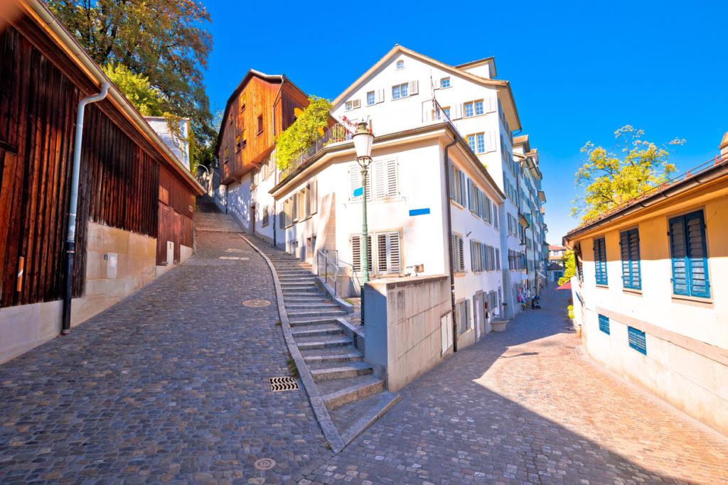 Old cobbled street scene of Zurich