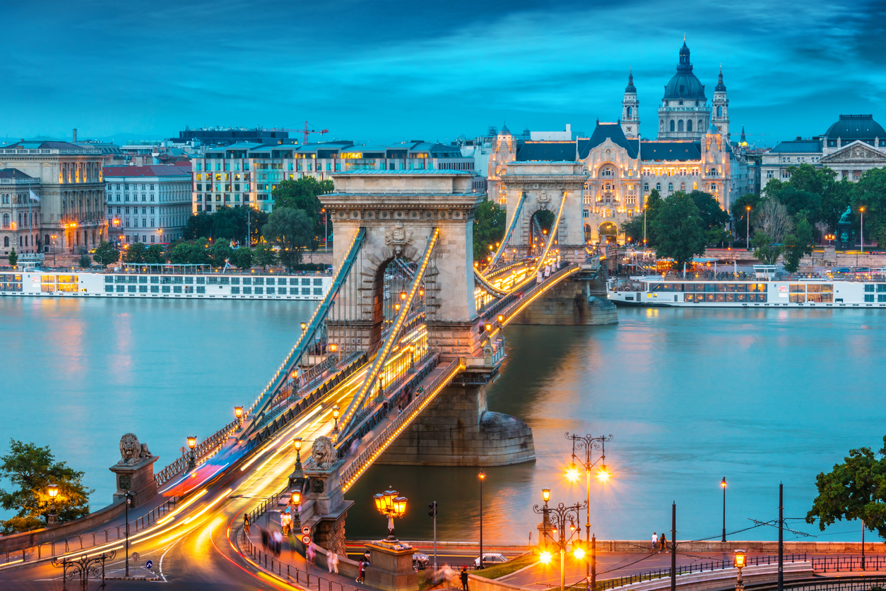 Panoramic view of Budapest after sunset