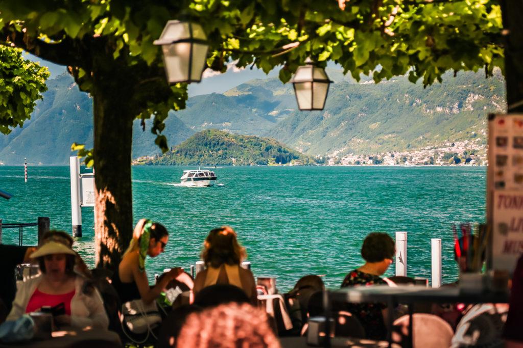 Restaurant on lake Como in summer