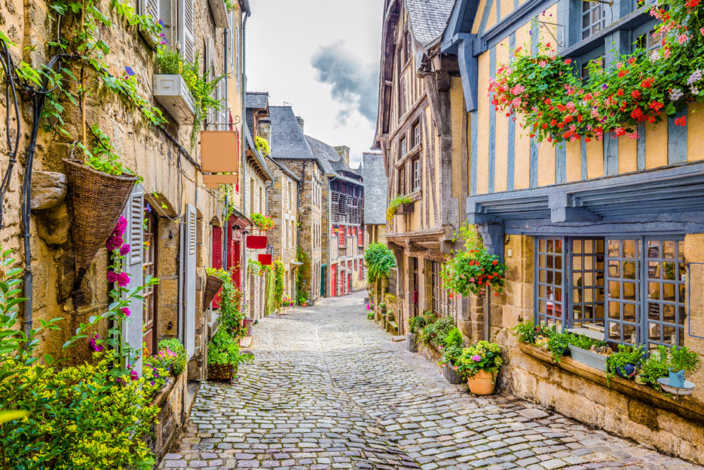Scenic narrow alley with historic traditional houses