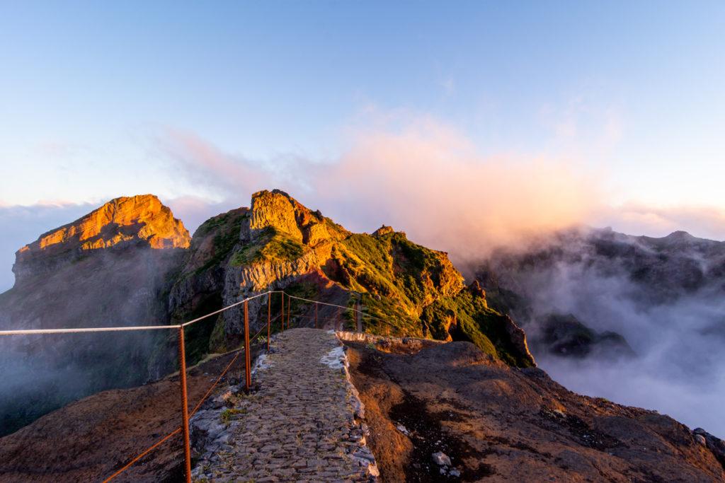 Starting pathway to Pico Ruivo peak at golden hour, Madeira