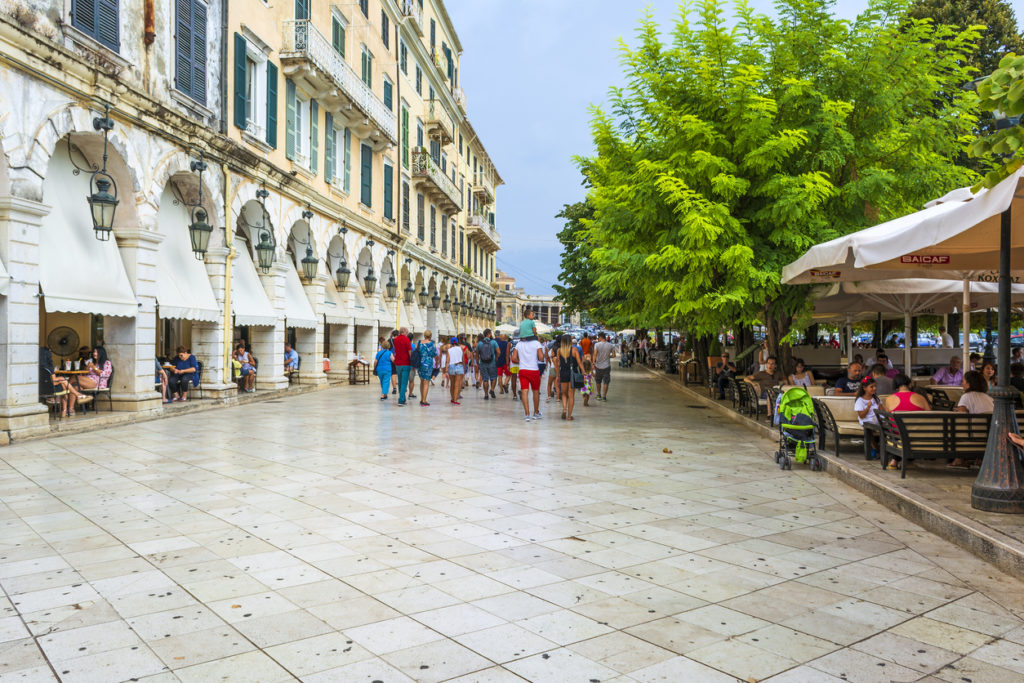 The historic center of Corfu town, Greece.