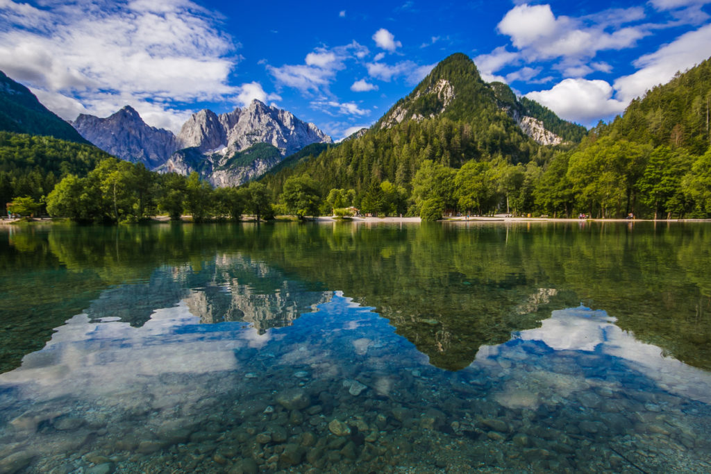 Wonderful alpine lake of Jasna in Kranjska Gora