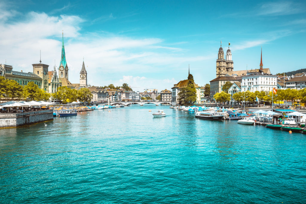 Zurich city panorama with Limmat river in summer