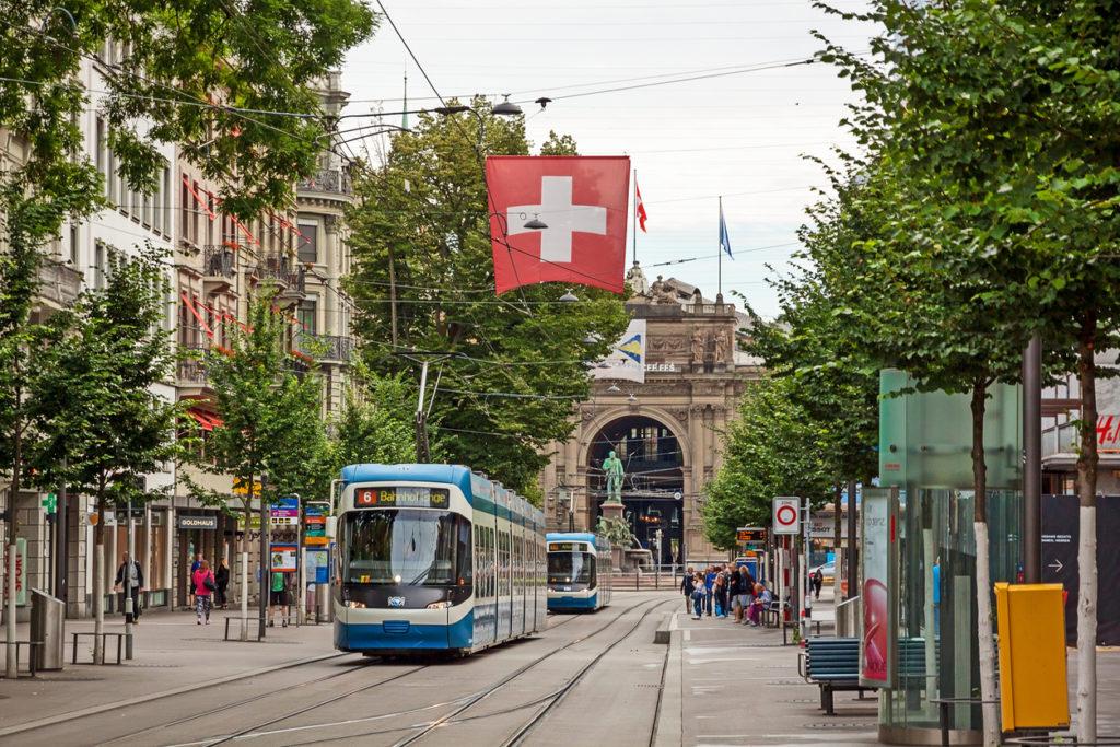 Zurich shopping street Bahnhofstrasse with tram