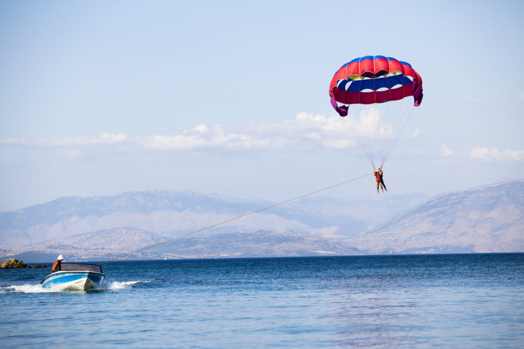 Parasailing on Summer in a very famous touristic area called Dassia in Corfu