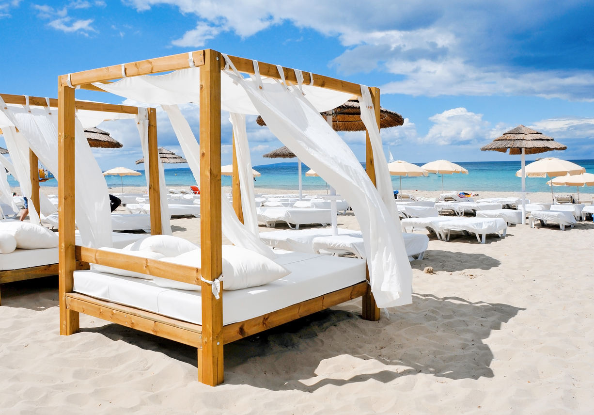 A Beach club in a white sand beach in Ibiza