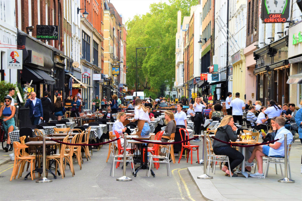 Bar and restaurant outdoor street seating in Soho, London