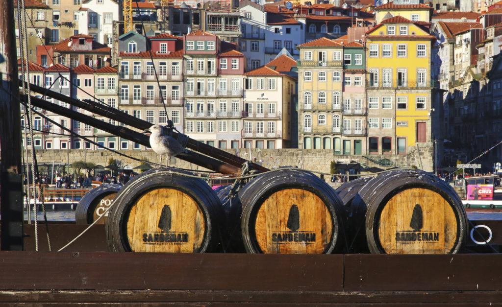 Barrels of Sandeman port wine