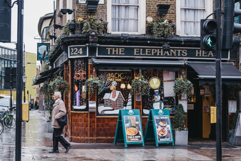 Facade of The Elephants Head pub in Camden, London