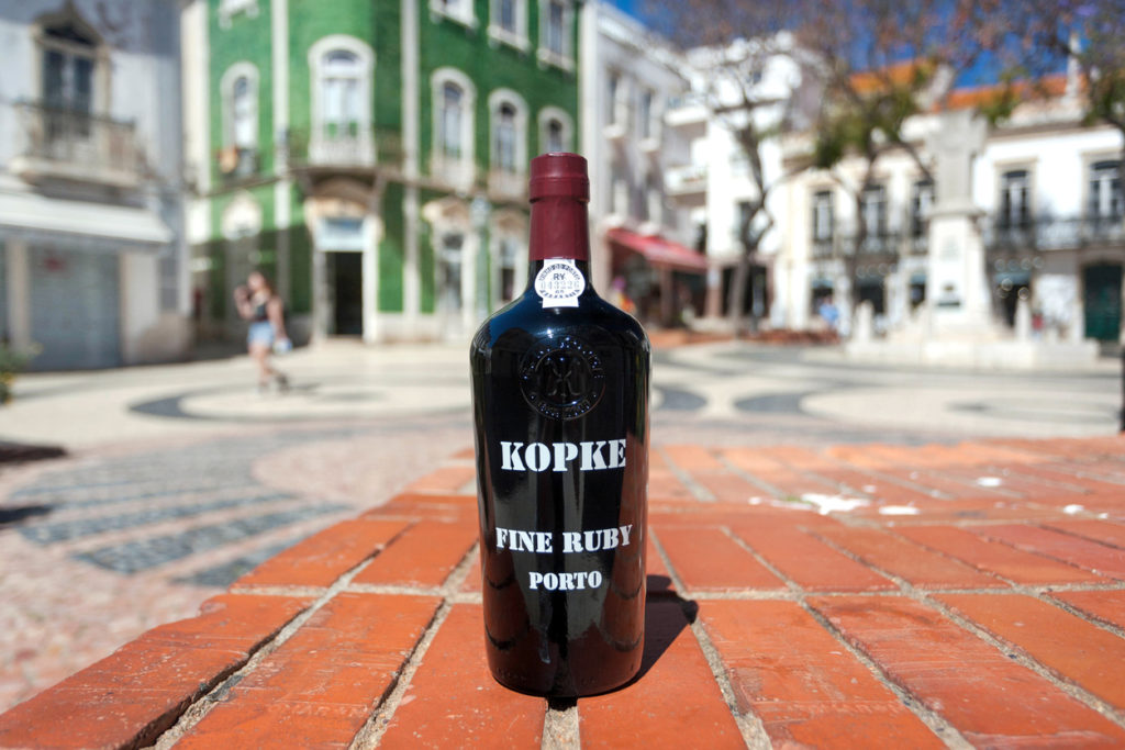 Fine ruby porto wine of popular Kopke winery