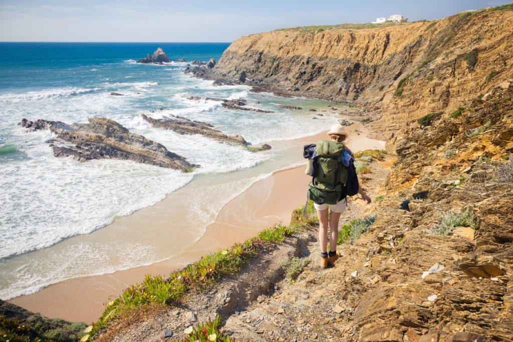 Hiking trail along coast portugal
