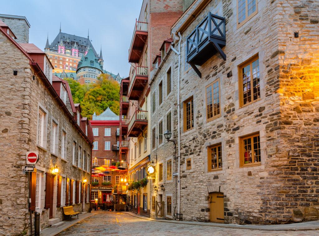 Little street of Rue du Petit-Champlain in Old Quebec city