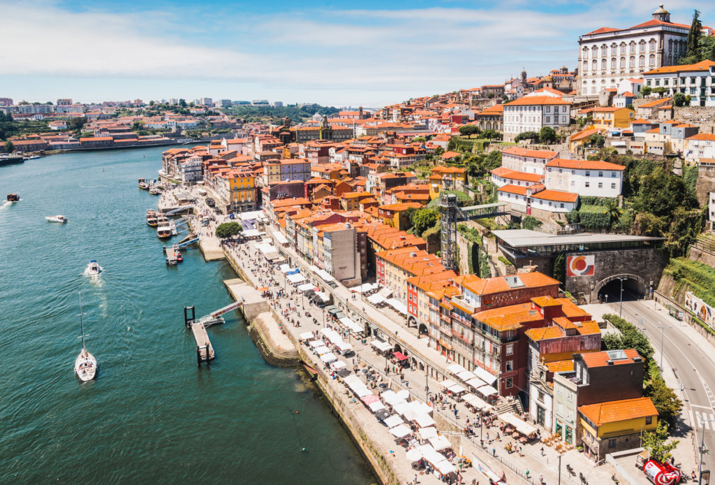 Panoramic view of old town of Porto and the Douro River