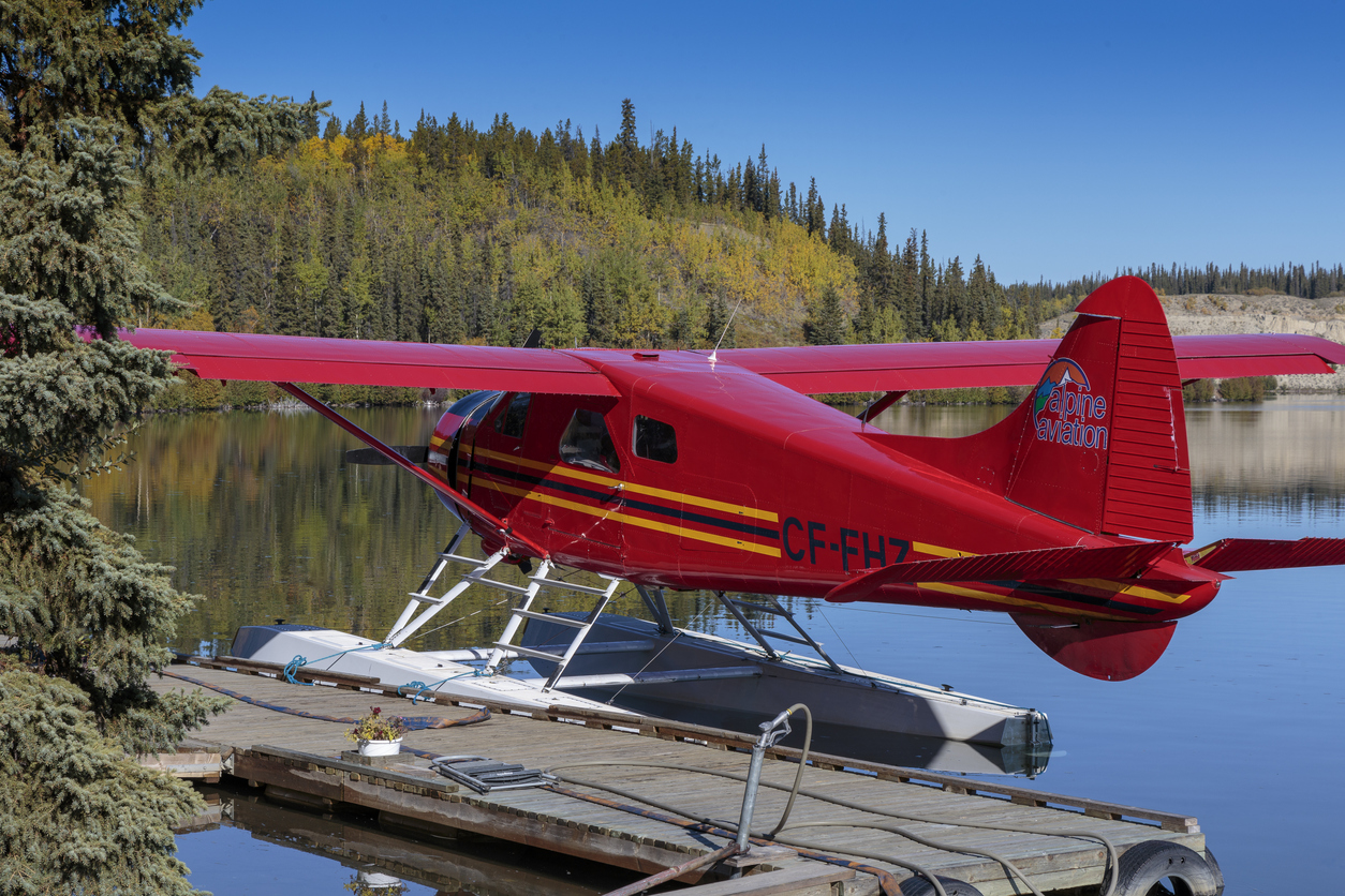 Seaplane on the yukon river near Whitehorse