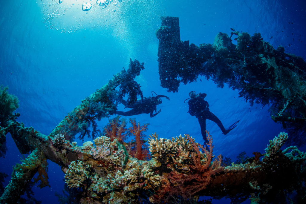 Ship wreck Cedar Pride located at the southern beach of Aqaba, Jordan