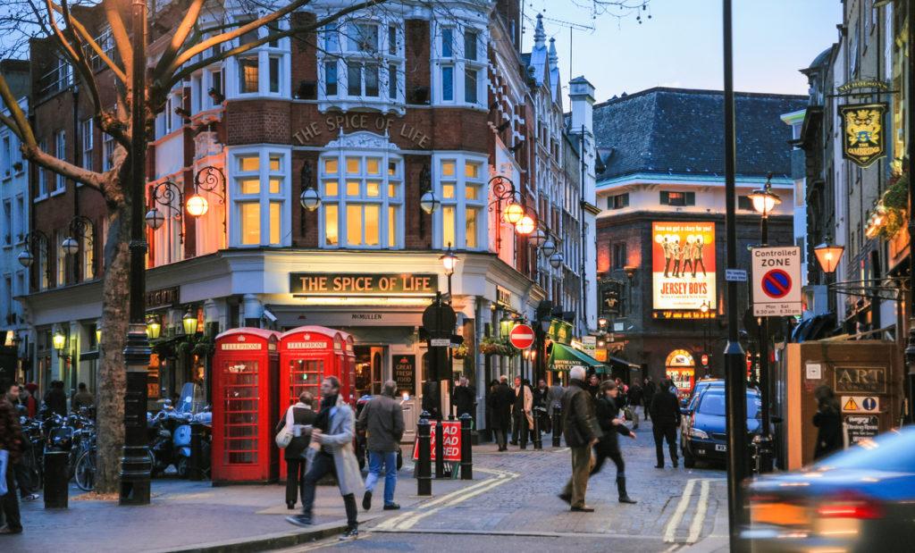 Soho district in London in winter