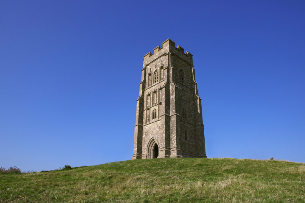 Top of Glastonbury Tor with St Michael's Tower.