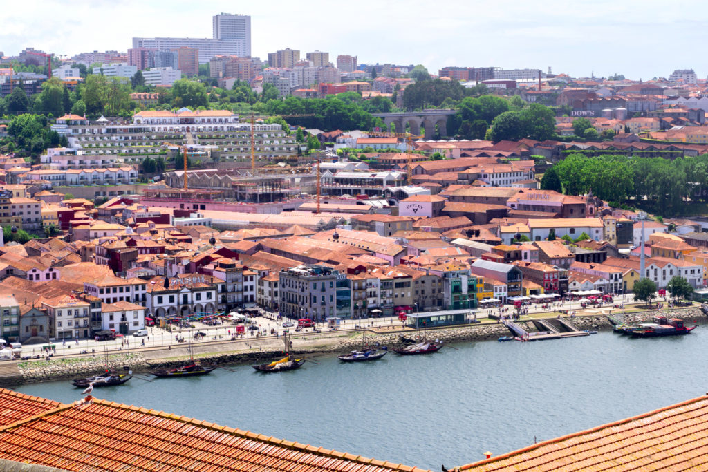 View to Porto wine cellars on Diogo Leite Avenue in Vila Nova de Gaia city