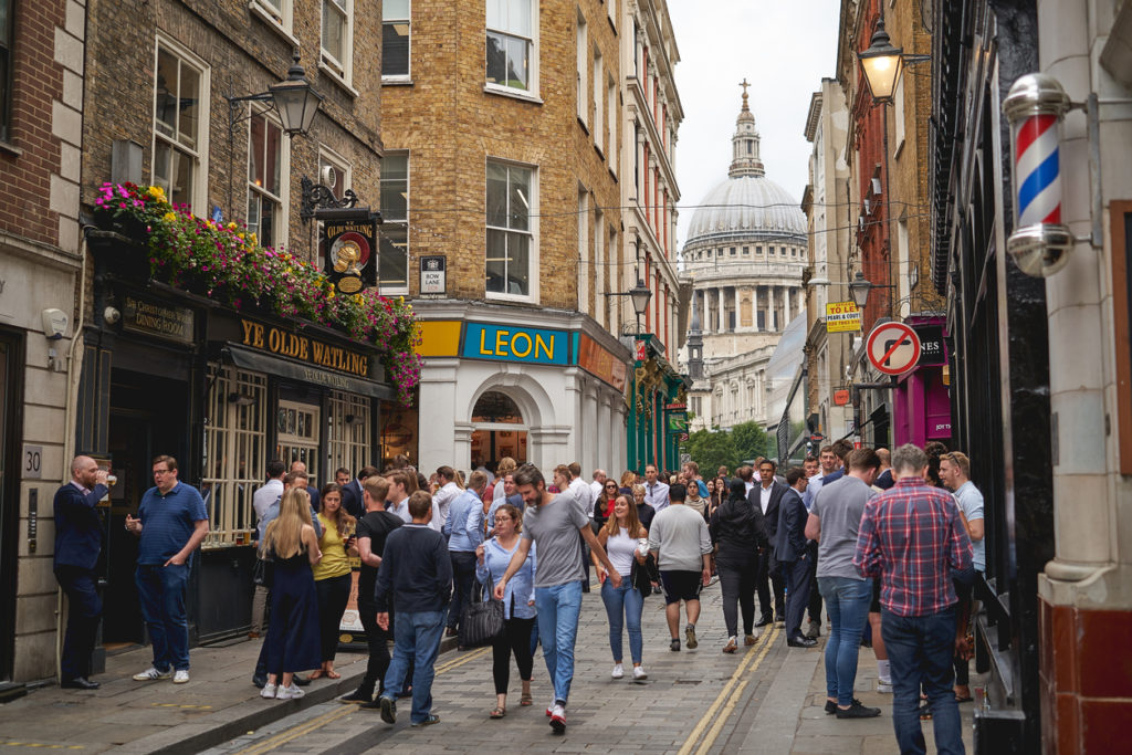 Watling Street in the hearth of the City of London