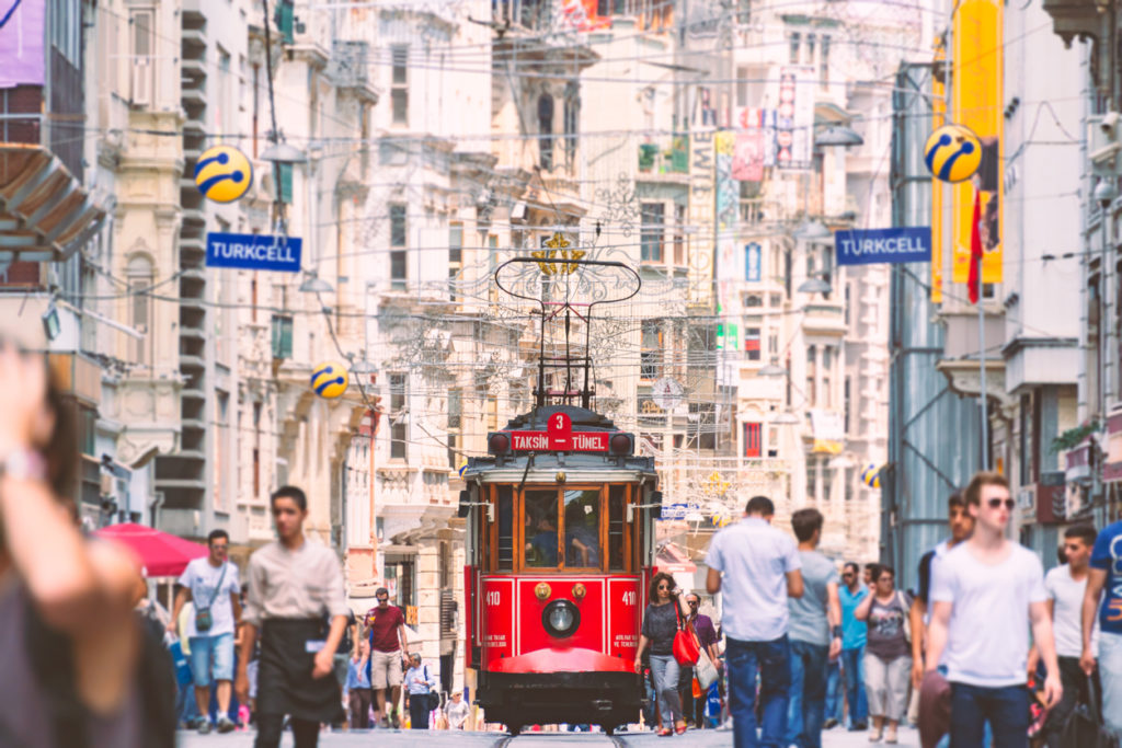 Old red tram in Istanbul