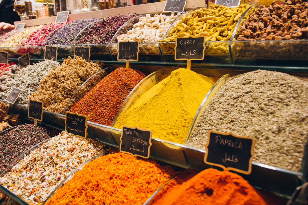 Traditional Turkish spices on the counter of the spice Bazaar in Istanbul